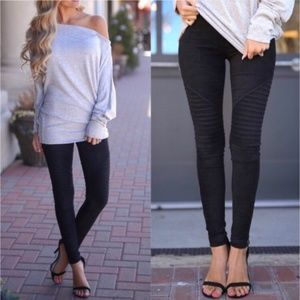 Black Suede Moto Leggings Vegan Motto Pants Biker